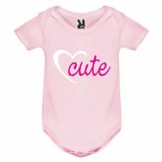 Бебешко боди, къс ръкав, с печат, надпис или снимка от 100% памук, розово. Cute