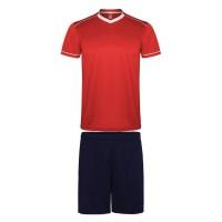 Футболен комплект тениска с шорти. Червено-Морско синьо.