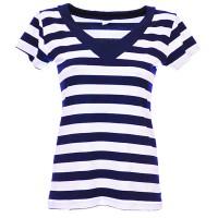 Моряшка дамска блуза, тениска с къс ръкав и остро деколте