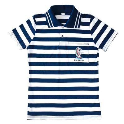 Моряшка тениска с яка и джоб с къс ръкав. Лукс.
