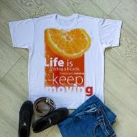 """Тениска с печат снимка или с индивидуален дизайн """"Продължавай да се движиш"""""""