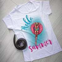 """Тениска със снимка или с индивидуален дизайн """"Hello summer"""""""